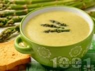 Зеленчукова крем супа със зелени аспержи и тиквички